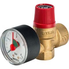 """Предохранительный клапан с манометром Watts SVM 3 бар 1/2""""x3/4"""" для отопления"""